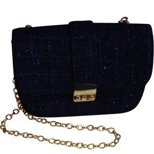 Midnight Navy Box-Shaped Shoulder Bag